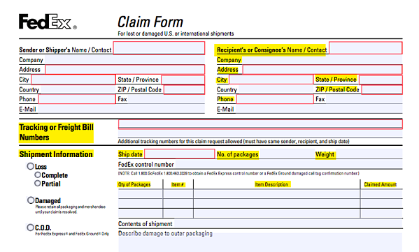 The 19 Unique Fields Per Lost or Damaged FedEx Claim Form