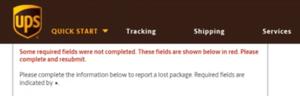 UPS Freight Claim Error